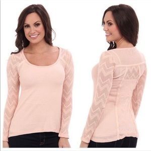 Lucky Brand Pink Ginny Lace Waffle Thermal Top